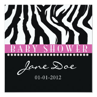 Black & Pink Zebra Baby Shower Invitations