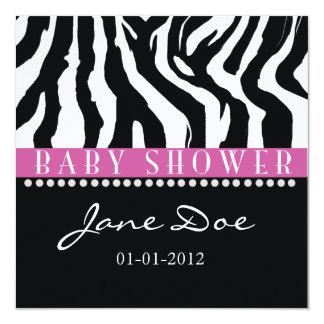 "Black & Pink Zebra Baby Shower Invitations 5.25"" Square Invitation Card"