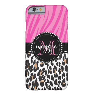 Black Pink Zebra Leopard Print Custom Monogram Barely There iPhone 6 Case