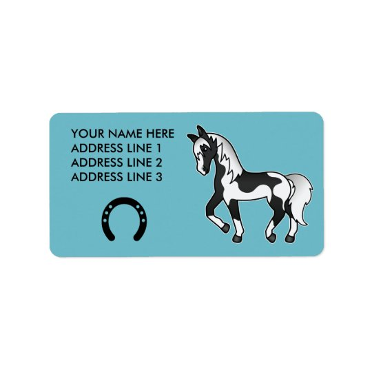 Black Pinto Trotting Cartoon Horse Label