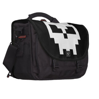 Black Pirate Pixel Skull Laptop Shoulder Bag