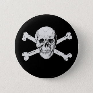 Black Pirate Skull and Crossbones 2 Inch Round Button
