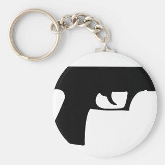 black pistol - gun basic round button keychain