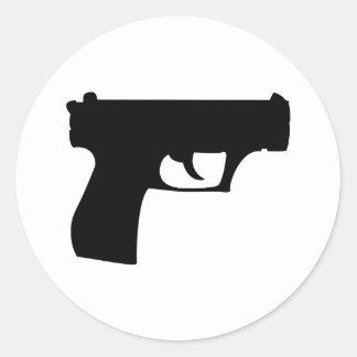 black pistol - gun round sticker