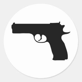 black Pistol icon Round Sticker