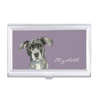 Black Pit Bull Dog Watercolor Portrait Business Card Holders