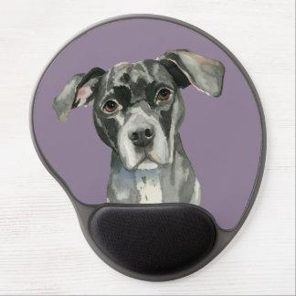 Black Pit Bull Dog Watercolor Portrait Gel Mouse Pad