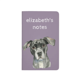 Black Pit Bull Dog Watercolor Portrait Journal