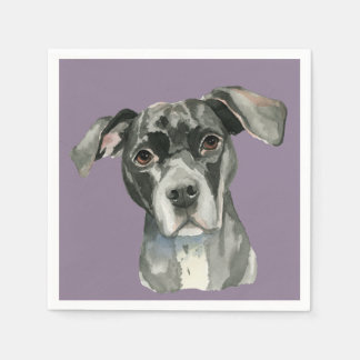 Black Pit Bull Dog Watercolor Portrait Paper Napkins