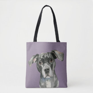 Black Pit Bull Dog Watercolor Portrait Tote Bag