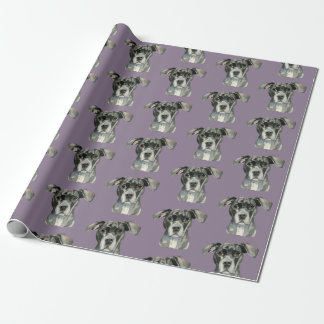 Black Pit Bull Dog Watercolor Portrait Wrapping Paper
