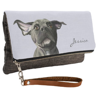 Black Pit Bull Dog with Wiggly Ears Watercolor Clutch