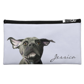 Black Pit Bull Dog with Wiggly Ears Watercolor Makeup Bags