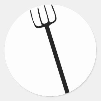 black pitchfork classic round sticker