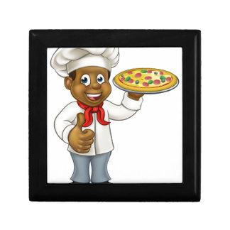 Black Pizza Chef Cartoon Character Gift Box