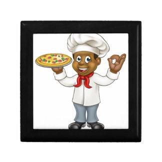 Black Pizza Chef Cartoon Mascot Gift Box