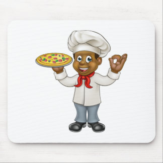 Black Pizza Chef Cartoon Mascot Mouse Pad