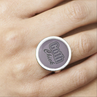 Black Plaid Goth Chick Saying Photo Ring