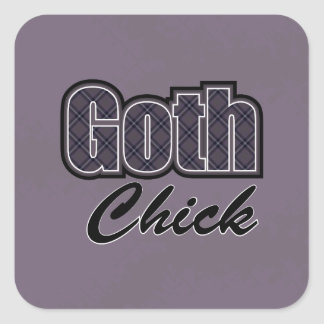 Black Plaid Goth Chick Saying Square Sticker