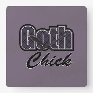 Black Plaid Goth Chick Saying Square Wall Clock