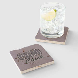 Black Plaid Goth Chick Saying Stone Coaster