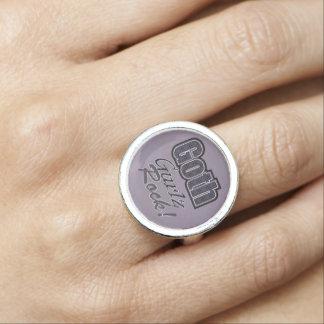 Black Plaid Goth Gurlz Rock Saying Rings