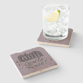Black Plaid Goth Gurlz Rock Saying Stone Coaster