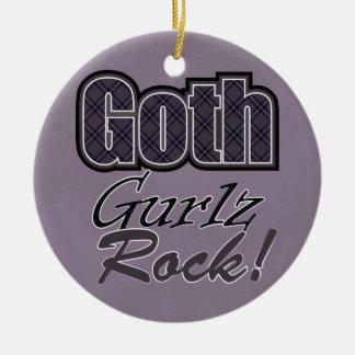 Black Plaid Goth Gurlz Rock Saying With Pattern Round Ceramic Ornament