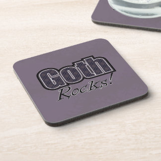 Black Plaid Goth Rocks Saying Coaster
