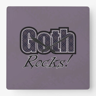Black Plaid Goth Rocks Saying Square Wall Clock
