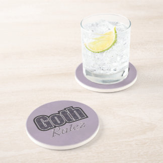 Black Plaid Goth Rulez Saying Coaster