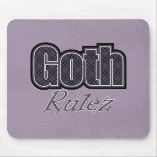 Black Plaid Goth Rulez Saying Mouse Pad