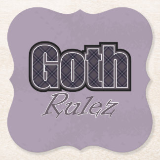 Black Plaid Goth Rulez Saying Paper Coaster