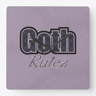 Black Plaid Goth Rulez Saying Square Wall Clock
