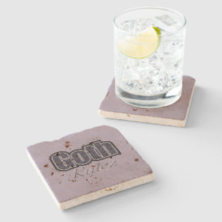 Black Plaid Goth Rulez Saying Stone Coaster