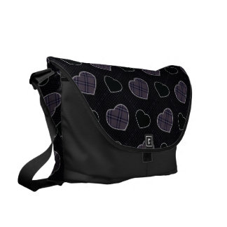 Black Plaid Hearts Pattern Messenger Bags