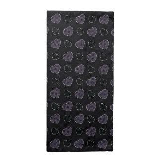 Black Plaid Hearts Pattern Napkin