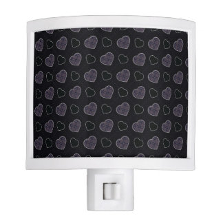 Black Plaid Hearts Pattern Nite Lite