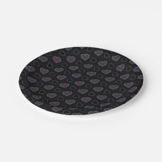 Black Plaid Hearts Pattern Paper Plate