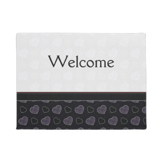 Black Plaid Hearts Pattern With Border Doormat