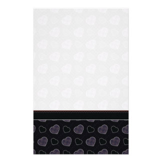 Black Plaid Hearts Pattern With Border Stationery