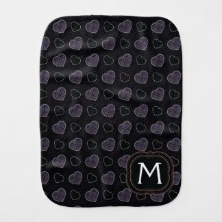 Black Plaid Hearts Pattern With Initial Burp Cloth