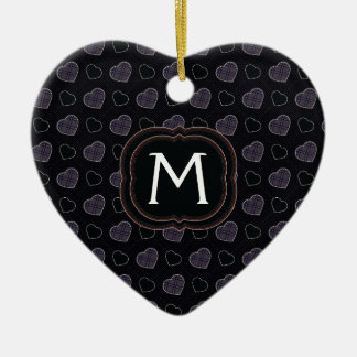 Black Plaid Hearts Pattern With Initial Ceramic Ornament