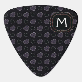 Black Plaid Hearts Pattern With Initial Guitar Pick