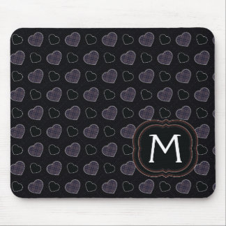 Black Plaid Hearts Pattern With Initial Mouse Pad