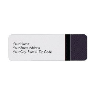 Black Plaid Pattern With Border Return Address Label
