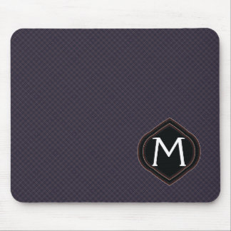 Black Plaid Pattern With Initial Mouse Pad