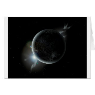 black planet 3d illustration in the universe card