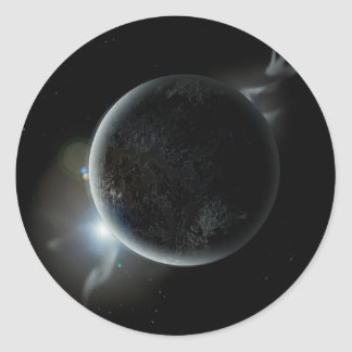 black planet 3d illustration in the universe classic round sticker