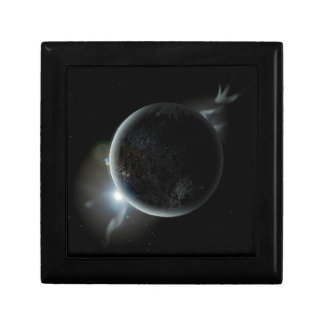 black planet 3d illustration in the universe gift box
